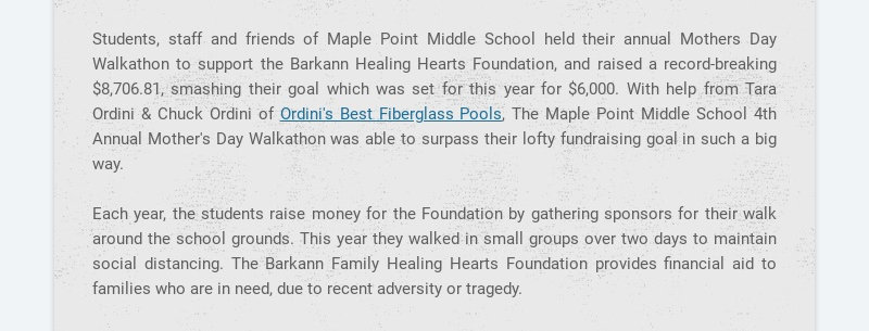 Students, staff and friends of Maple Point Middle School held their annual Mothers Day Walkathon...