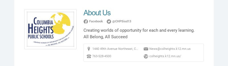 About Us Facebook @CHPSisd13 Creating worlds of opportunity for each and every learning. All...