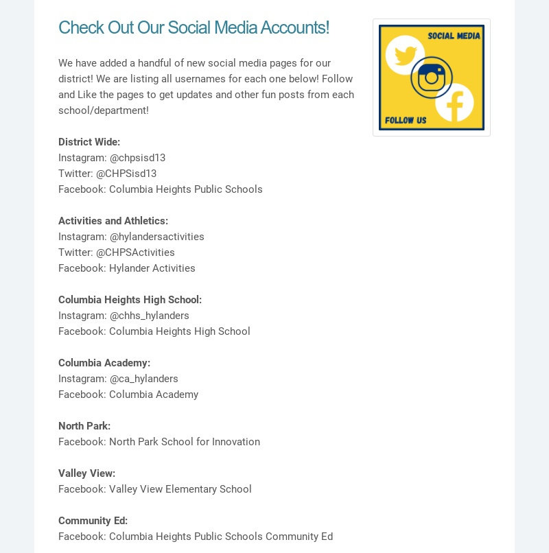 Check Out Our Social Media Accounts! We have added a handful of new social media pages for our...