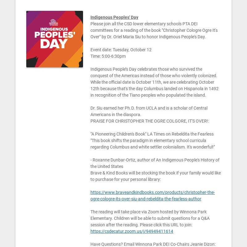 Indigenous Peoples' Day Please join all the CSD lower elementary schools PTA DEI committees for a...
