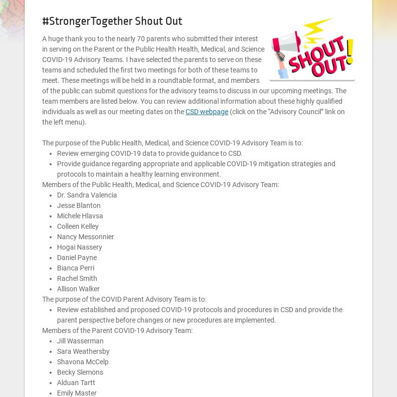 #StrongerTogether Shout Out A huge thank you to the nearly 70 parents who submitted their...
