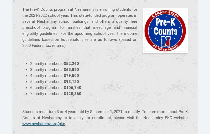 The Pre-K Counts program at Neshaminy is enrolling students for the 2021-2022 school year. This...