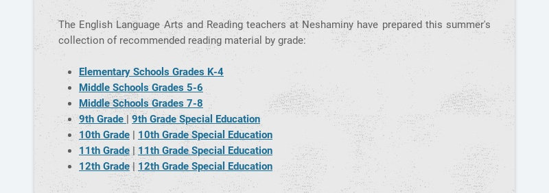 The English Language Arts and Reading teachers at Neshaminy have prepared this summer's...