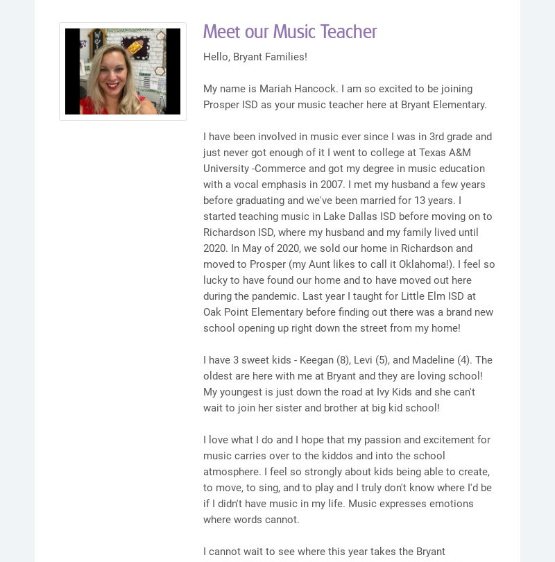 Meet our Music Teacher Hello, Bryant Families! My name is Mariah Hancock. I am so excited to be...