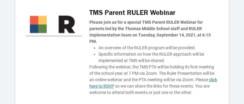 TMS Parent RULER Webinar Please join us for a special TMS Parent RULER Webinar for parents led by...