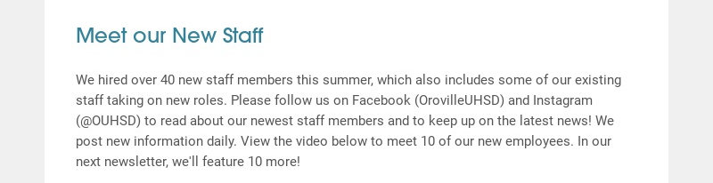 Meet our New Staff We hired over 40 new staff members this summer, which also includes some of...