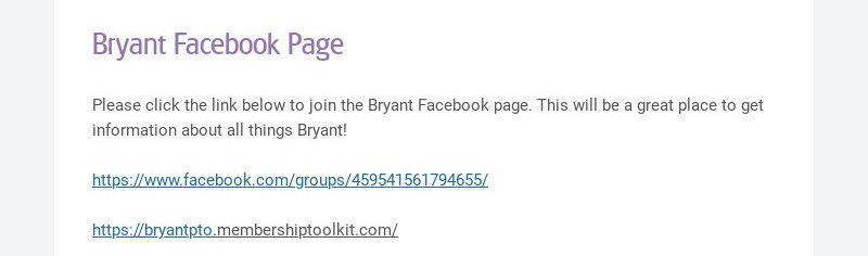 Bryant Facebook Page Please click the link below to join the Bryant Facebook page. This will be a...