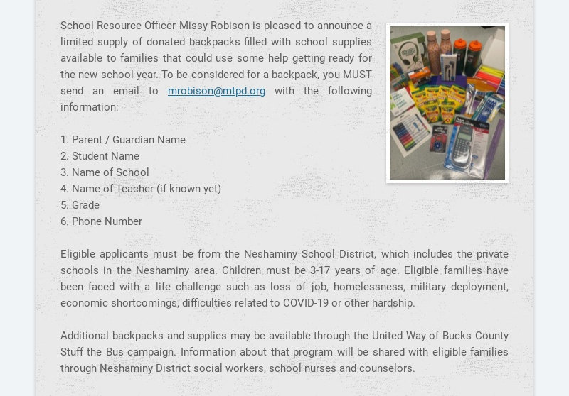 School Resource Officer Missy Robison is pleased to announce a limited supply of donated...