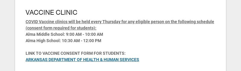 VACCINE CLINIC COVID Vaccine clinics will be held every Thursday for any eligible person on the...