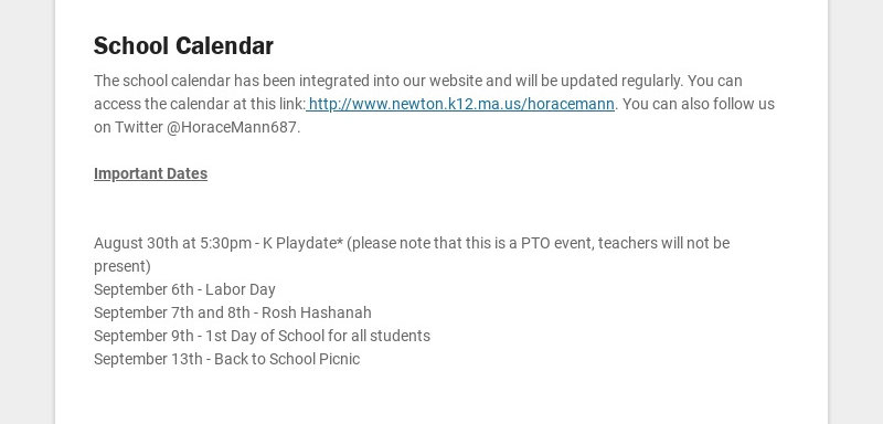 School Calendar The school calendar has been integrated into our website and will be updated...