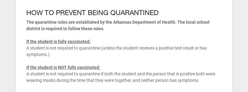 HOW TO PREVENT BEING QUARANTINED The quarantine rules are established by the Arkansas Department...