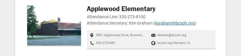 Applewood Elementary Attendance Line: 330-273-8100 Attendance Secretary: Kim Graham...