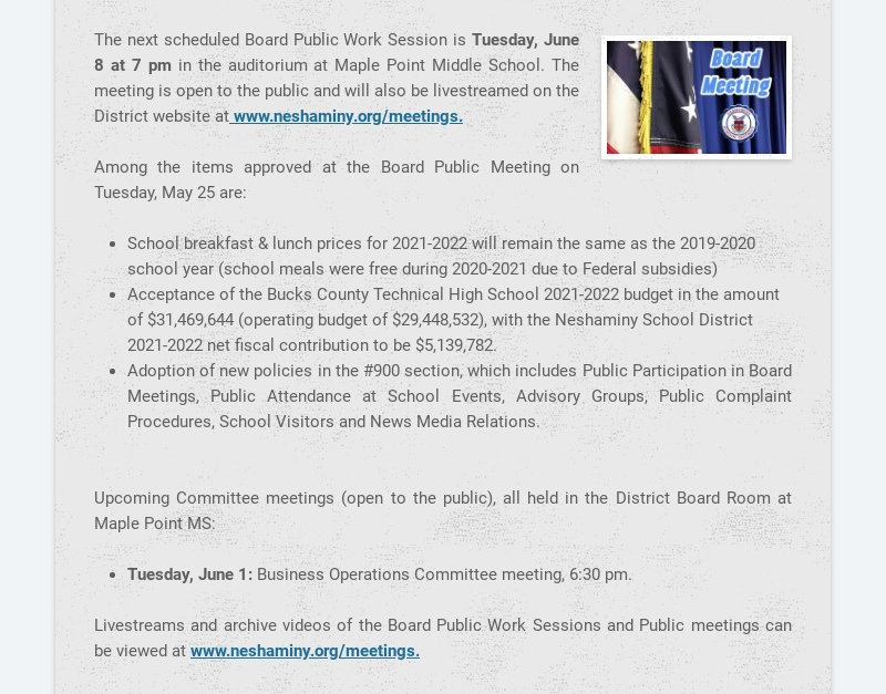 The next scheduled Board Public Work Session is Tuesday, June 8 at 7 pm in the auditorium at...