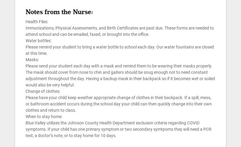 Notes from the Nurse: Health Files: Immunizations, Physical Assessments, and Birth Certificates...