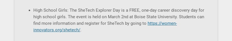 High School Girls: The SheTech Explorer Day is a FREE, one-day career discovery day for high...