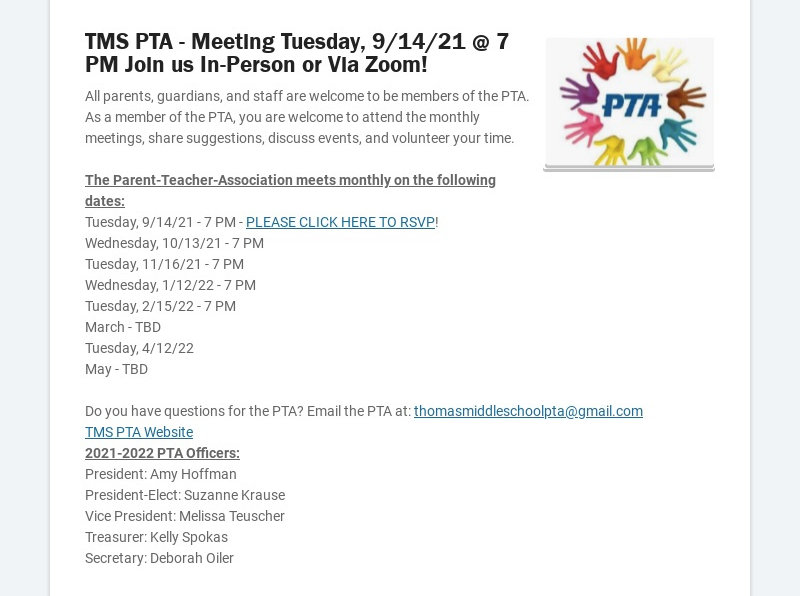 TMS PTA - Meeting Tuesday, 9/14/21 @ 7 PM Join us In-Person or Via Zoom! All parents, guardians,...