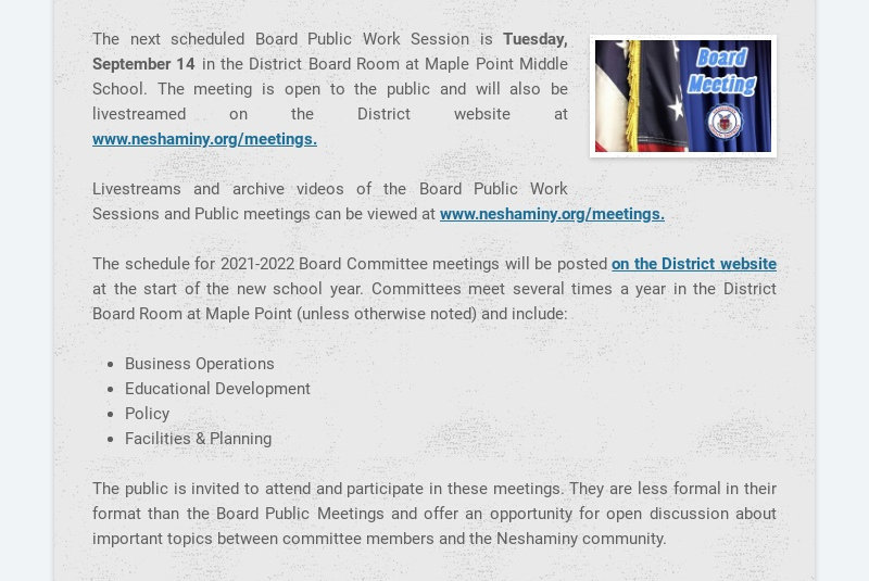 The next scheduled Board Public Work Session is Tuesday, September 14 in the District Board Room...