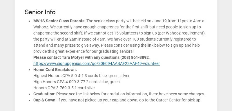 Senior Info MVHS Senior Class Parents: The senior class party will be held on June 19 from 11pm...