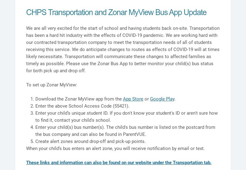 CHPS Transportation and Zonar MyView Bus App Update We are all very excited for the start of...