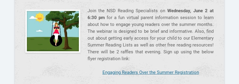 Join the NSD Reading Specialists on Wednesday, June 2 at 6:30 pm for a fun virtual parent...