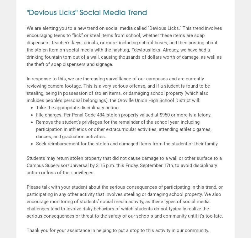 """""""Devious Licks"""" Social Media Trend We are alerting you to a new trend on social media called..."""