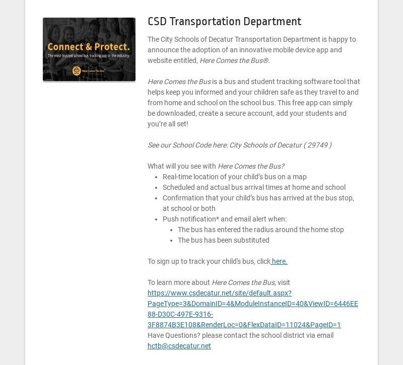 CSD Transportation Department The City Schools of Decatur Transportation Department is happy to...