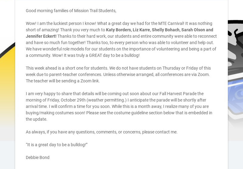Good morning families of Mission Trail Students, Wow! I am the luckiest person I know! What a...