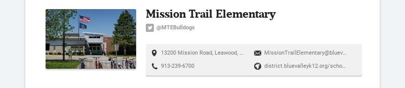 Mission Trail Elementary @MTEBulldogs 13200 Mission Road, Leawood, KS, USA...