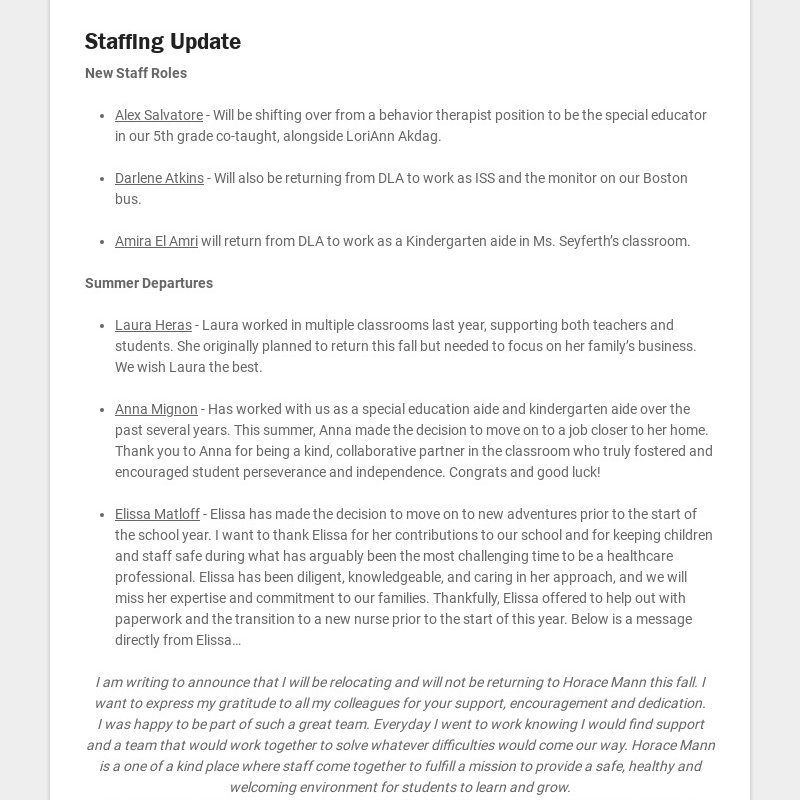 Staffing Update New Staff Roles Alex Salvatore - Will be shifting over from a behavior...