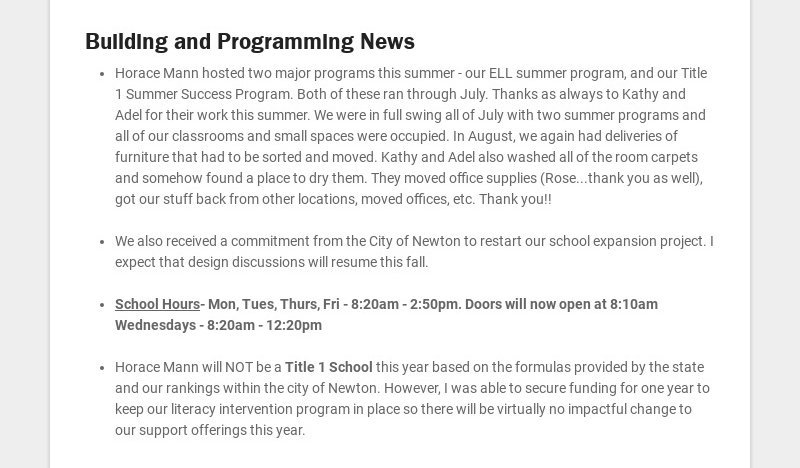 Building and Programming News Horace Mann hosted two major programs this summer - our ELL summer...