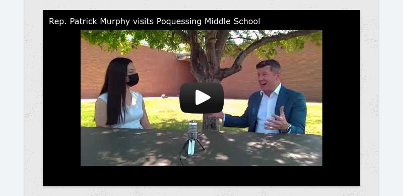 Rep. Patrick Murphy visits Poquessing Middle School
