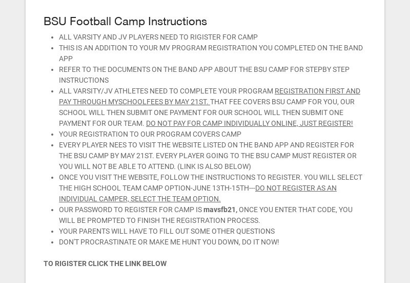 BSU Football Camp Instructions ALL VARSITY AND JV PLAYERS NEED TO RIGISTER FOR CAMP THIS IS AN...