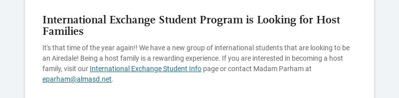 International Exchange Student Program is Looking for Host Families It's that time of the year...