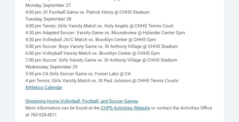 Activities Update North Park Night at the CHHS Soccer Games- An invitation for North Park...