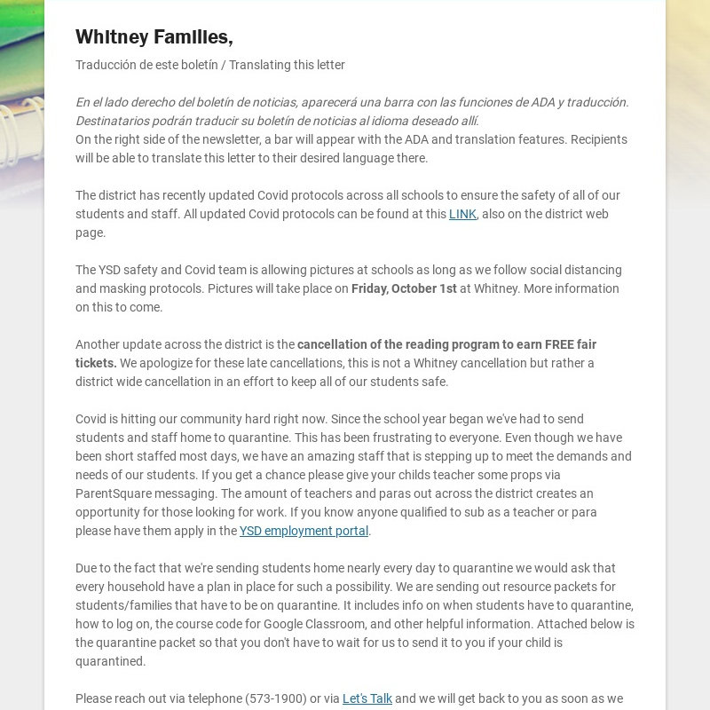 Whitney Families, Traducción de este boletín / Translating this letter En el lado derecho del...