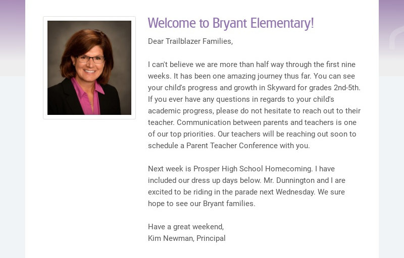 Welcome to Bryant Elementary! Dear Trailblazer Families, I can't believe we are more than half...