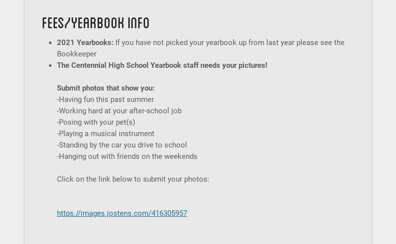 fees/yearbook info 2021 Yearbooks: If you have not picked your yearbook up from last year please...