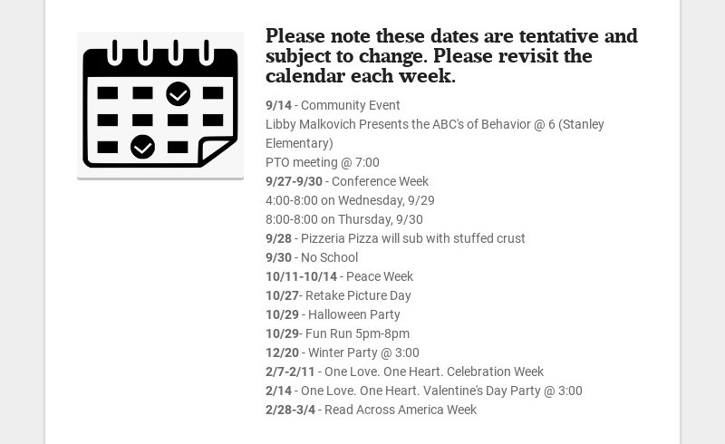 Please note these dates are tentative and subject to change. Please revisit the calendar each...