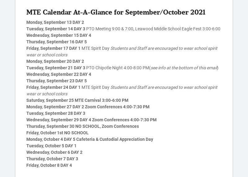 MTE Calendar At-A-Glance for September/October 2021 Monday, September 13 DAY 2 Tuesday, September...