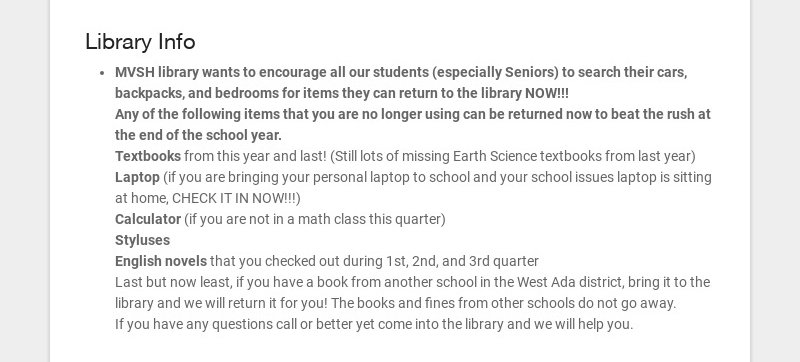 Library Info MVSH library wants to encourage all our students (especially Seniors) to search...