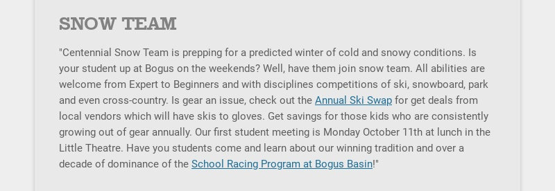 """SNOW TEAM """"Centennial Snow Team is prepping for a predicted winter of cold and snowy conditions...."""