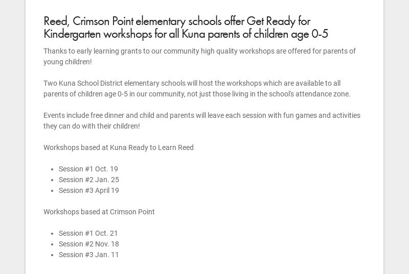 Reed, Crimson Point elementary schools offer Get Ready for Kindergarten workshops for all Kuna...