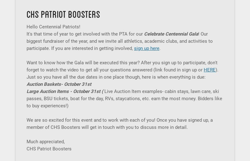 chs patriot boosters Hello Centennial Patriots! It's that time of year to get involved with the...