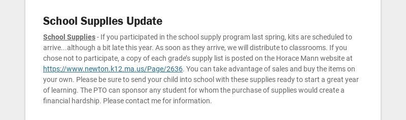 School Supplies Update School Supplies - If you participated in the school supply program last...