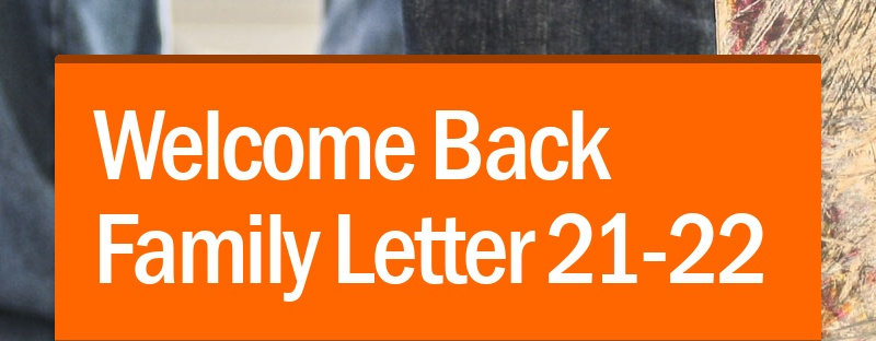 Welcome Back Family Letter 21-22