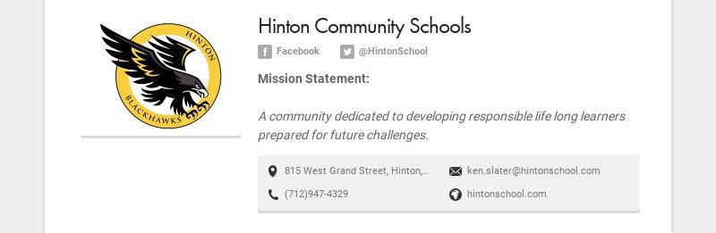 Hinton Community Schools Facebook @HintonSchool Mission Statement: A community dedicated to...