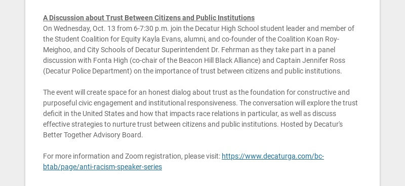 A Discussion about Trust Between Citizens and Public Institutions On Wednesday, Oct. 13 from...