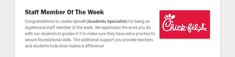 Staff Member Of The Week Congratulations to Jackie Spinelli (Academic Specialist) for being an...