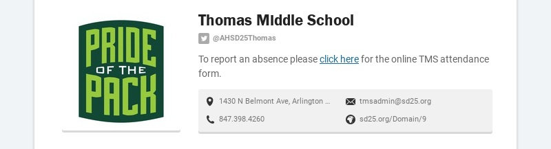 Thomas Middle School @AHSD25Thomas To report an absence please click here for the online TMS...
