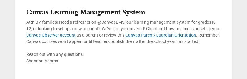 Canvas Learning Management System Attn BV families! Need a refresher on @CanvasLMS, our learning...